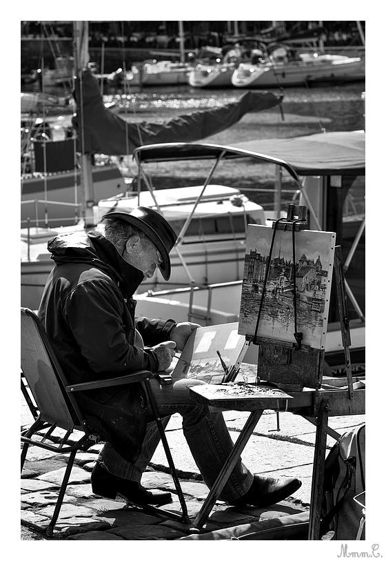 Peintre sur le port d'Honfleur